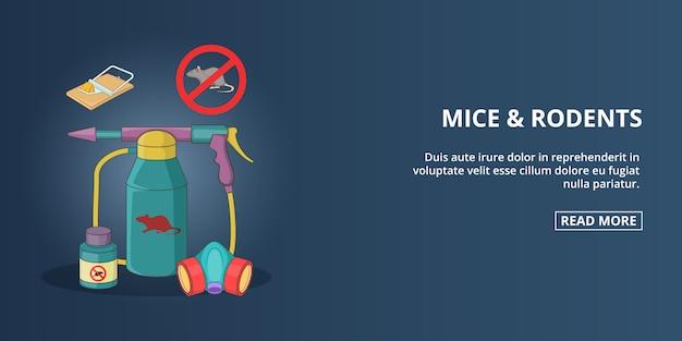 マウスとげっ歯類のバナー、水平方向、漫画のスタイル Premiumベクター