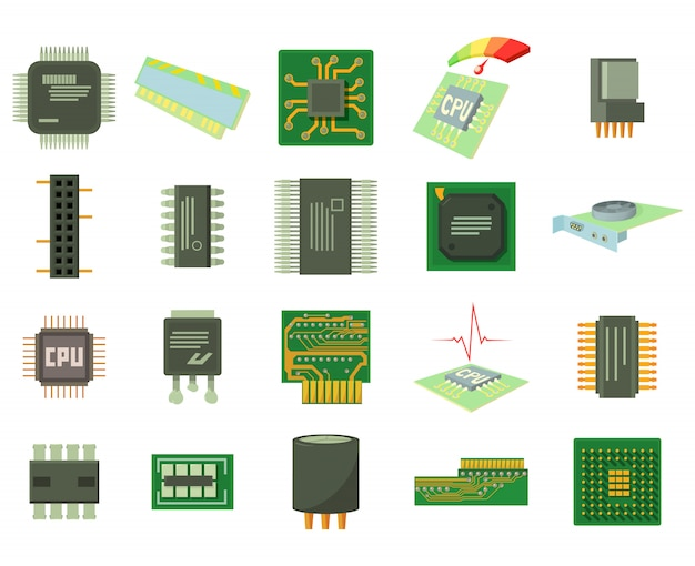 Micro chip icon set Premium Vector
