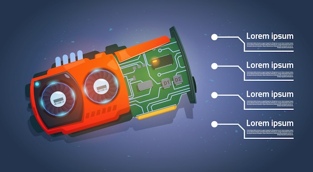 Micro processor computer chip motherboard system banner with copy space Premium Vector