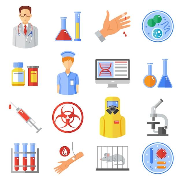 Microbiology icons set Premium Vector