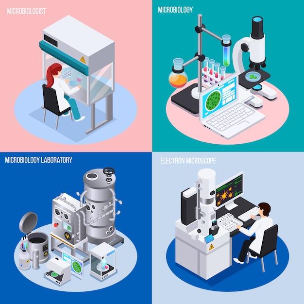 微生物学実験室のコンセプトセットの科学実験ビーカーとフラスコ等尺性のオブジェクト 無料ベクター
