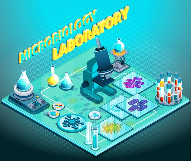 Microbiology laboratory isometric composition Free Vector