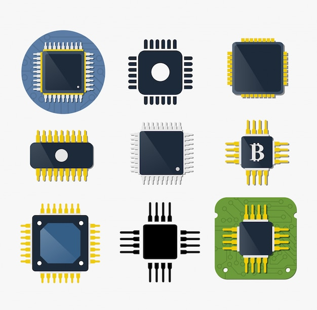 Microchip chip circuit component Premium Vector