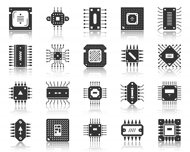 Microchip cpu black glyph, silhouette icon set, microprocessor pc component, hi tech technology. Premium Vector