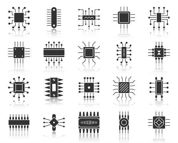 Микрочип глиф, набор иконок черный силуэт, микропроцессор, процессор, материнская плата компьютера, микросхема. Premium векторы