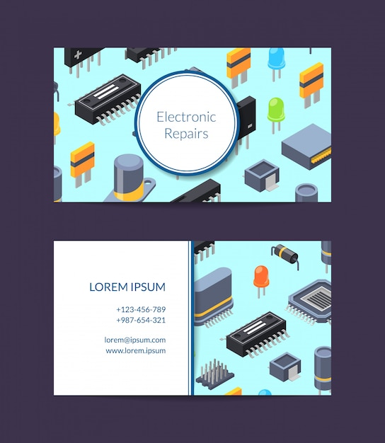 Microchips and electronic card repair service Premium Vector