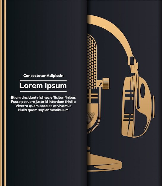 Microphone and headphone in gold Premium Vector