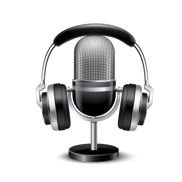 Microphone and headphones retro realistic image Free Vector