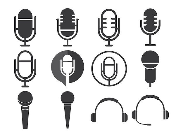 Microphone icon sets Premium Vector