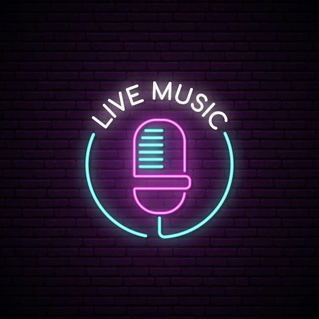 Microphone neon sign. Premium Vector
