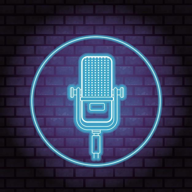Microphone neon Premium Vector
