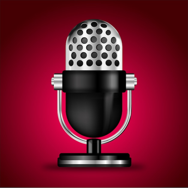 Microphone on pink background Free Vector