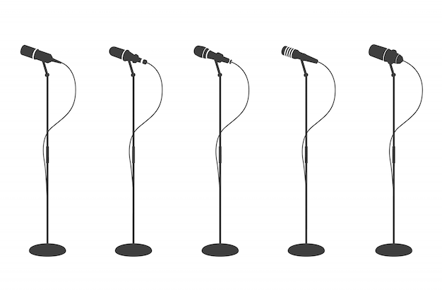 Microphone silhouettes. standing microphones audio equipment.  and karaoke music mics   collection Premium Vector
