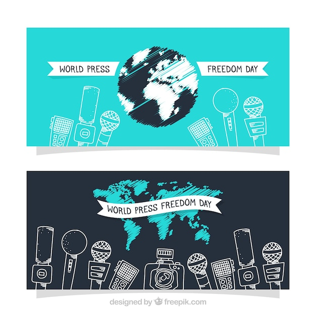 Microphone sketches for press freedom  Free Vector