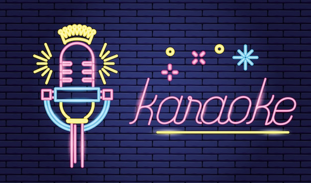 Microphone sound icon, neon style over purple Free Vector