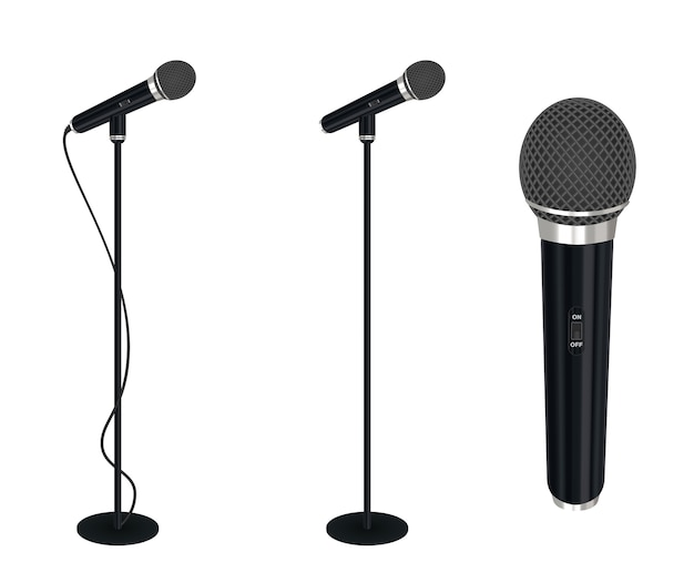 Microphone with stand vector on white background Premium Vector