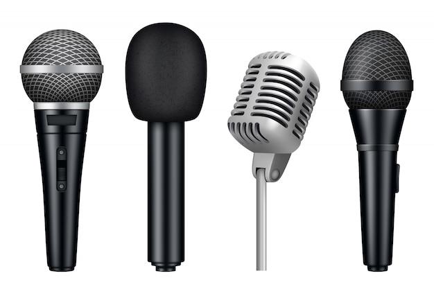 Микрофоны 3d, музыкальная студия разное микрофон оборудование реалистично в винтажном стиле микрофоны изолированы Premium векторы