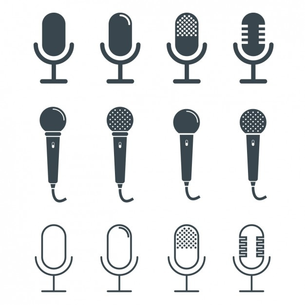 Microphones design collection Free Vector