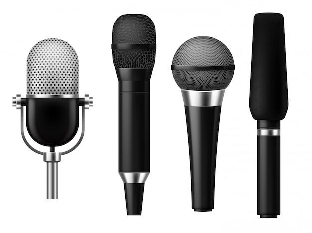 Microphones realistic. mic conference news media voice concert microphone meeting interview journalist studio show set Premium Vector