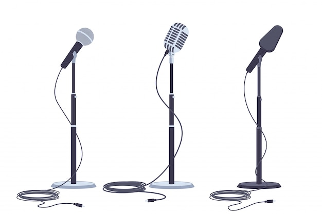 Microphones on stand vector flat set of modern and retro music audio equipment. Premium Vector