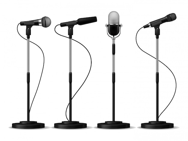 Microphones on stands. stage standing microphones, studio mic for singing with counters. concert audio equipment set Premium Vector