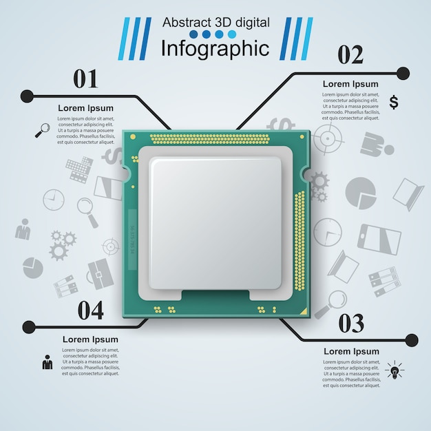 Microprocessor, chip, electronic components infographic template Premium Vector