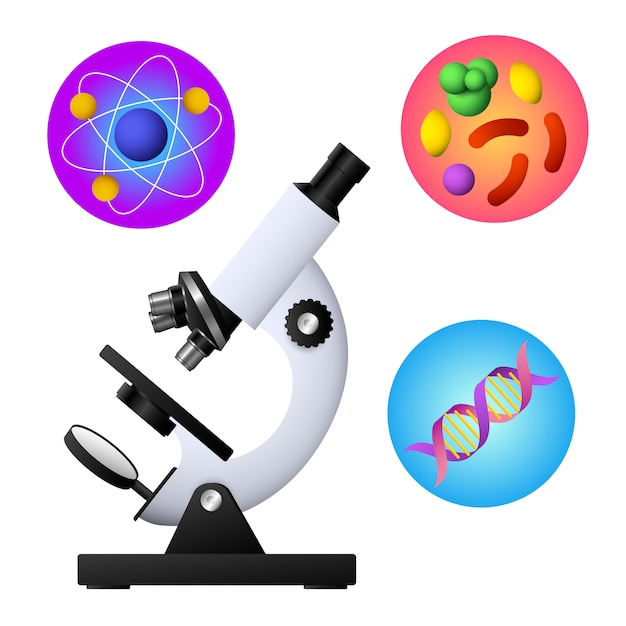 Microscope, dna, bacterium and atom vector Free Vector