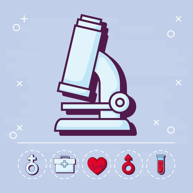 Microscope and medical Free Vector
