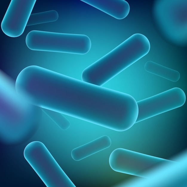 Microscopic robiotics bacteria background. Premium Vector