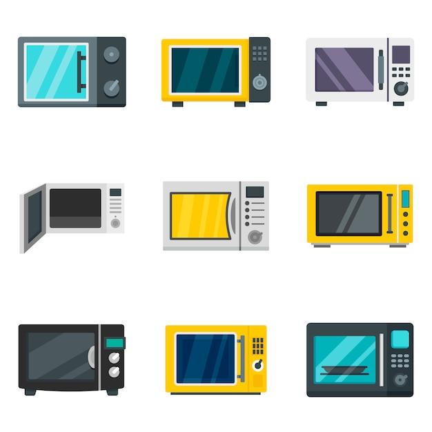 Microwave icon set Premium Vector