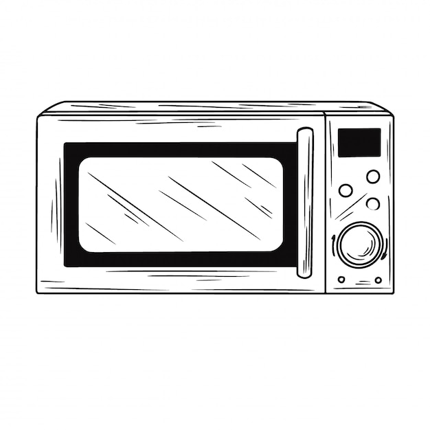 Microwave oven isolated illustration Premium Vector