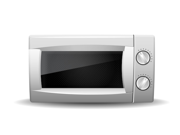 Microwave oven isolated on white Premium Vector