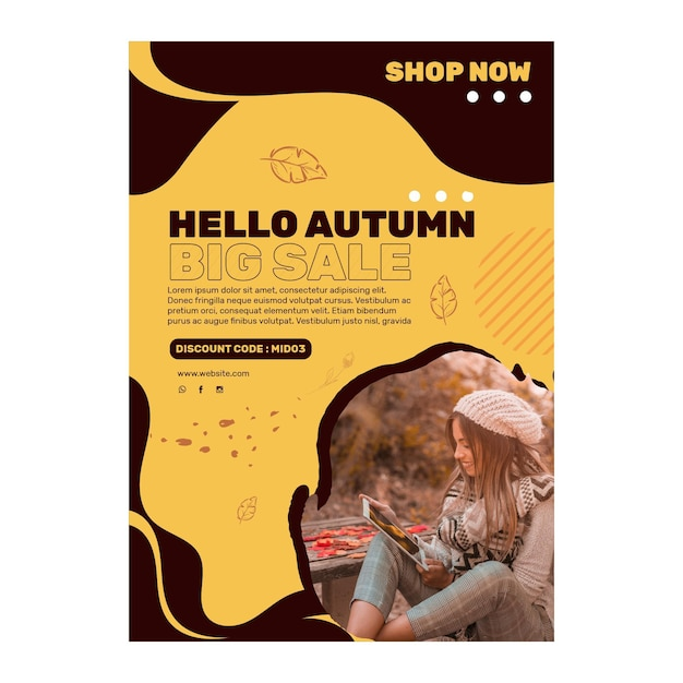 Mid autumn a5 flyer template Free Vector