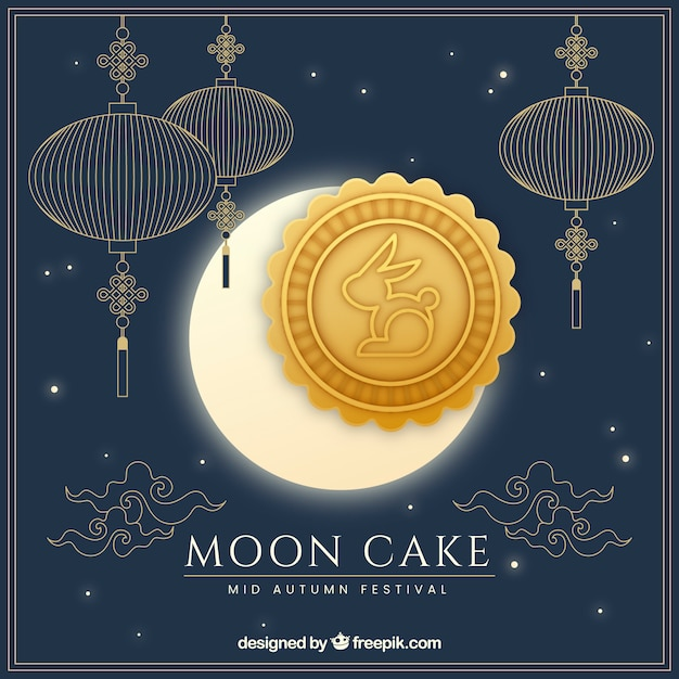 Mid autumn background with moon cake Free Vector