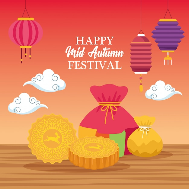 Mid autumn chinese festival cartoon Premium Vector