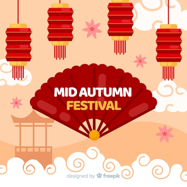 Mid autumn festival background concept in flat design Free Vector