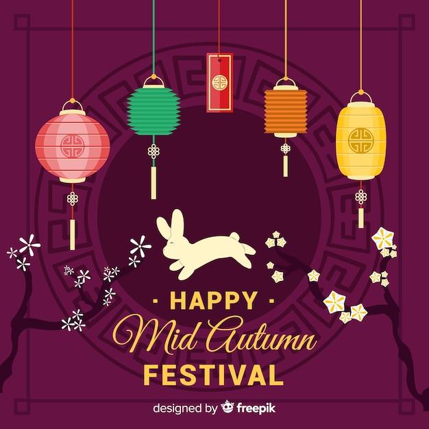 Mid autumn festival background design Free Vector