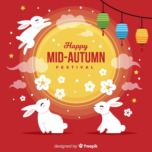 Mid autumn festival background design Free Vector