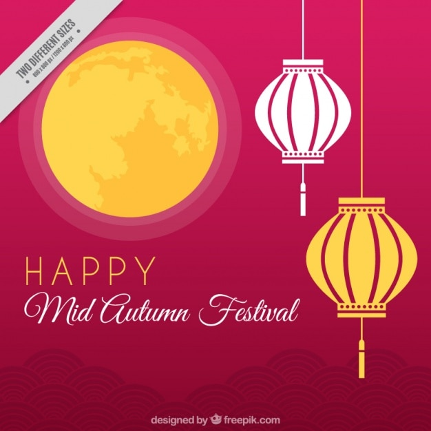 Mid-autumn festival background of moon with lanterns Vector