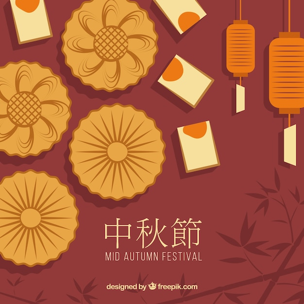 Mid autumn festival background with moon cake Free Vector