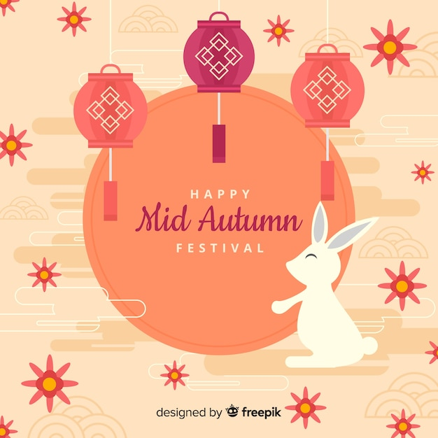 Mid autumn festival background Free Vector