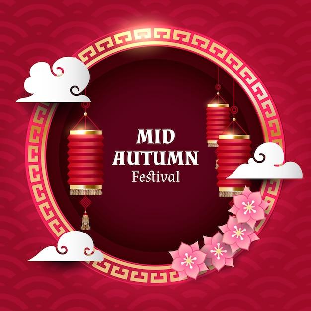 Mid autumn festival banner Premium Vector