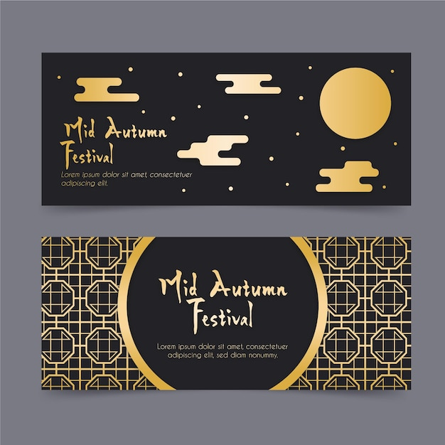 Mid-autumn festival banners Free Vector