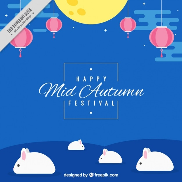 Mid Autumn Festival Vector Background With Kids Playing Lanterns ...