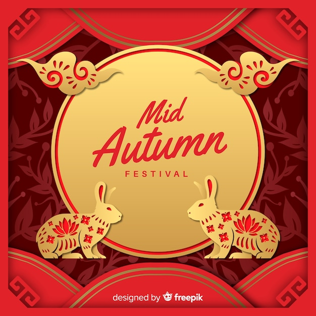 Mid autumn festival composition with paper style Free Vector