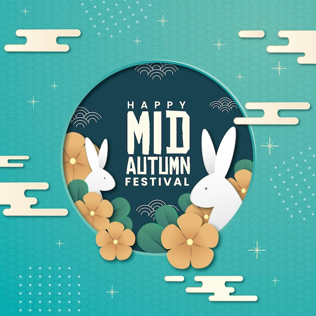 Mid-autumn festival in paper style Free Vector