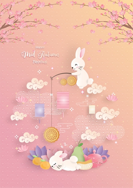 Mid autumn festival with paper cut style Premium Vector