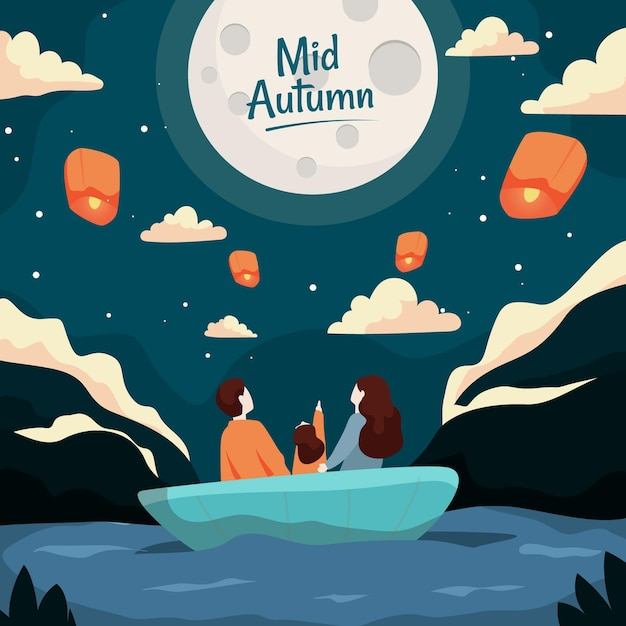 Festa di metà autunno con persone e luna Vettore gratuito