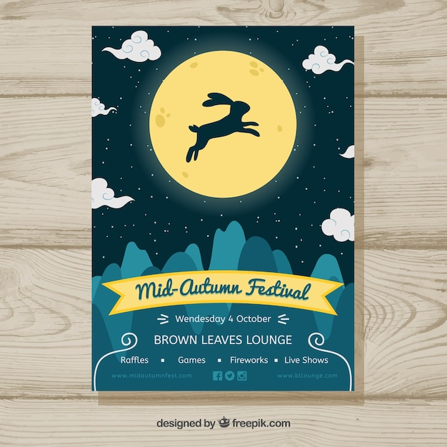 Mid autumn festival with rabbit and full moon Free Vector