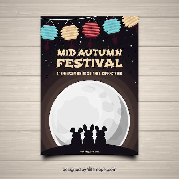 Mid Autumn Festival With Rabbits And Full Moon Vector
